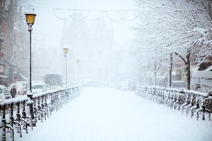 Snow_Covered_Walkway_Downtown_With_Street_Lights